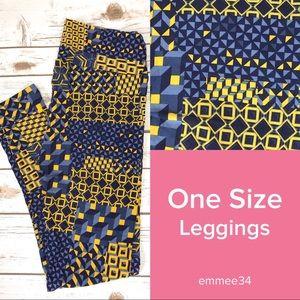 One Size Lularoe Leggings blue yellow geometric